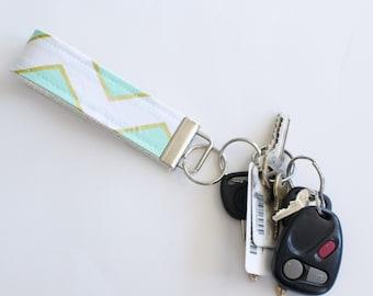 Key Fob Fabric Key Chain Mint and Gold Chevron