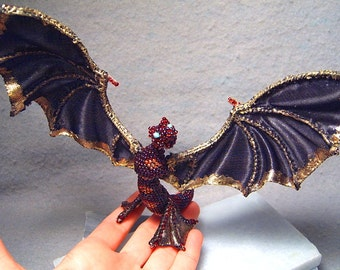 Vesta, OOAK beadwoven winged fire serpent/wyvern