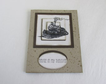 Locomotive Train Handmade Greeting Card Your In My Thoughts