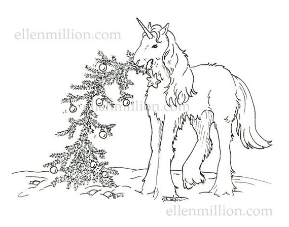 This is an image of Epic Unicorn Christmas Coloring Pages