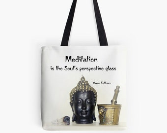"Buddha Tote Bag, Zen Photo Yoga Bag, 13"" 16"" 18"" Square Market Shopping Tote Bag, Black and White Shoulder Tote Photo Grocery Tote Bag"