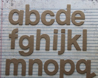 2 inch tall BLOCK style lowercase chipboard raw alphabet diecuts 26 pieces