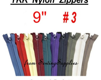 "27 ZIPPERS - 9"" - YKK Nylon Zippers - 9 inch -Special Promotion, Assorted Package"