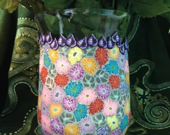 X-Large Beautiful Millifiori Polymer Clay Covered Glass Vase