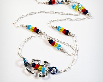 Autism Awareness Shiny Sterling Silver Puzzle Piece Necklace, Spectrum shades, Firefly Beads, Sterling Silver Necklace