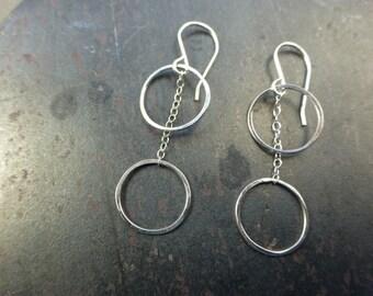 Two Circle Party Drop Earrings Dangle Drop circle simple modern earrings