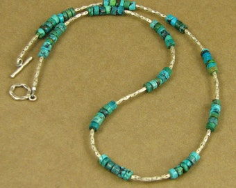 Turquoise and silver necklace. Real turquoise. Blue / green. Fine & sterling silver.