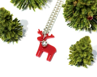 Red Reindeer Mini Necklace,Christmas Jewelry