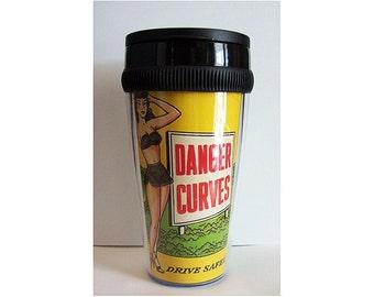 pin up girl travel mug retro vintage rockabilly coffee mug 1950's burlesque  kitsch