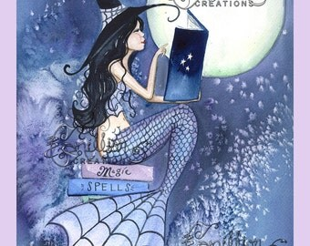 By the Moon Light Mermaid  Witch from Original Watercolor Painting by Camille Grimshaw
