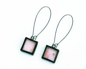 Stained Glass Earrings- Glass Earrings - Pink glass earrings- Valentine's Day
