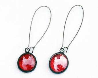EARRINGS -  Red Iridescent Kidney Wire Earrings - Stained Glass Earrings