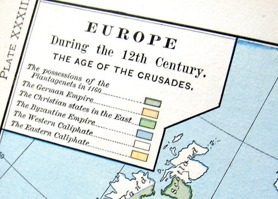 1888 Antique Historical Map of Europe during the 12th Century, The Age of the Crusades