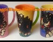 bernese mountain dog ceramic  hand painted mug set of 3  maggie brudos tangerine studio