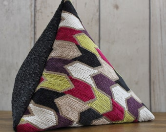 Fabric Doorstop, Doorstopper in Pink, Lime Green & Black Geometric  Fabric, Triangular, Pyramid Shape - On Sale