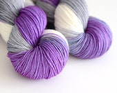 Yeti Love Note - Hand Dyed Sock Yarn - Purple, Gray and White