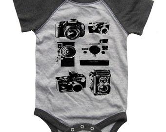 Cameras BABY Bodysuit Raglan one piece shirt creeper Baseball jersey screenprint