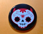 Cute Sugar Skull - 2.25 Inch Large Button / Magnet / Bottle Opener / Pocket Mirror - Day of the Dead -Sick On Sin