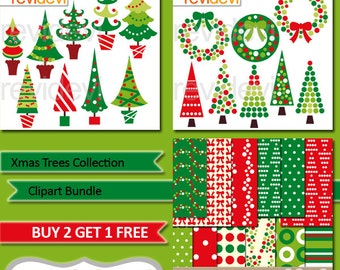 Christmas clipart sale bundle / Christmas trees clip art red green, Christmas wreath, digital papers polkadot / commercial use