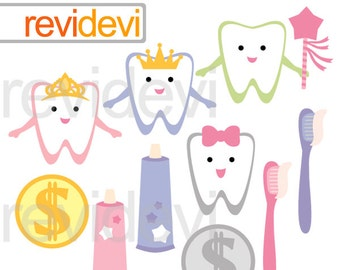 Teeth clipart/ cute tooth clip art / tooth brush, paste, commercial use clip art, digital graphic, digital images, Tooth Fairytale character