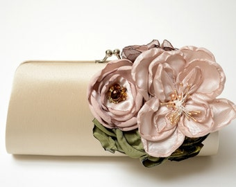 Shabby Chic Bridal Clutch or Bridesmaid Clutch - Champagne Flower Blossoms - Woodland Clutch - Medium Size Bouquet Clutch