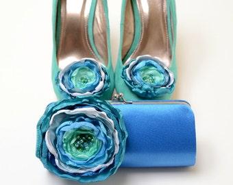 Royal Blue Clutch & Shoe Clip Set * Bridesmaid Clutch Bridal Clutch * Teal Seafoam Aqua * Something Blue Bridal Clutch * Bouquet Clutch SALE