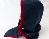 Hooded Cowl in Indigo Blue with Red Trim and Candy Cane Striped Liner - Womens Hats
