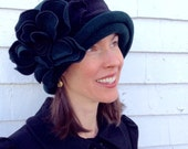 Polar Fleece Ladies Hat- Flapper Cloche - Forest Green- Charlotte