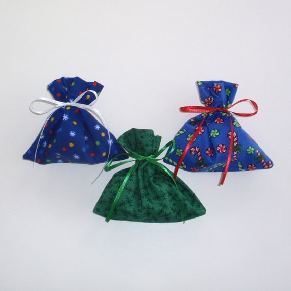 Christmas Gift Bags 6 Blue Green Snowflake - 2 of each - Reusable Eco-Friendly Cotton Fabric