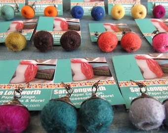 Felted Ball Earrings with Decorative Beadcap in Gunmetal, Choice of Colors