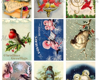 Christmas Birds Digital Collage Sheet  - DIY Printable Christmas Images - INSTANT DOWNLOAD
