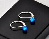 4mm Blue Opal Stones, Australian Opal Dangle Earrings, Sterling Silver Leverback Earwires, Opal Jewelry, 925 Sterling Silver