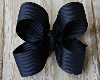Navy Toddler Hair Bow 3 Inch Alligator Clip Baby Hairbow Navy Baby Hair Bow Navy Baby Hairbow