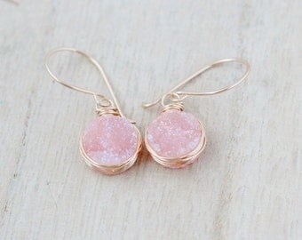 Druzy Gold Earrings , Peach Pink Quartz Bezel Wrapped Drops in 14k Gold Filled , Rose , Sterling Silver  - Sherbet