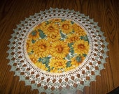 Sunflowers Doily Fabric Center Doilies with Crocheted Edging 18 inches Centerpiece Last One This Size