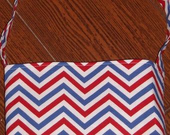 Red, white, and blue Chevron toddler purse