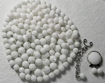 Vintage Milkglass Faceted Beads w Sterling Clasp, 180 White Glass Faceted Beads, Vintage Destash Beads with Clasp