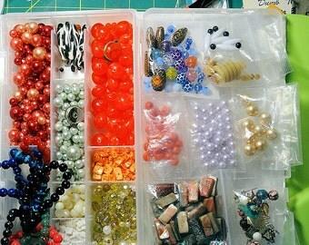 Vintage Destash Bead Lot, Vintage Faux Pearl Beads, Crystals, Plastic Beads, Misc. vintage Destash over 1 1/2 lbs, Shell Beads, LOT JL 1