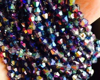 25 Faceted Czech Glass Bicone Beads 'MAGIC' BLUE PURPLE Mix 4mm