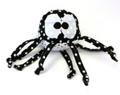 Stuffed Animal, Ball, Baby Toy, black, white, Soft, Knotted Strings, Polka Dots, Face, Big Eyes, Octopus, Legs, Personalization,