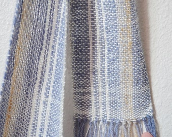 Lake Ice Scarf - Long Skinny Handwoven Scarf in Handspun Yarn and Commercial Bamboo. Blue, White, Camel. Late Winter, Spring, Lariat Scarf.