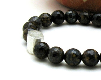Bronzite Modern Beaded Bracelet, Chocolate Brown Unisex Beaded Stretch Partner Bracelet, For Her or Him Under 175
