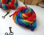 Rainbow Handspun Yarn, Merino Wool and Sparkle, Single Ply, 280 yards