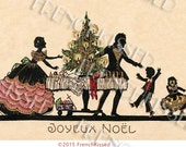 French Joyeux Noel Christmas Postcard Silhouettes and Gold Leaf Digital Printable Gift Tag