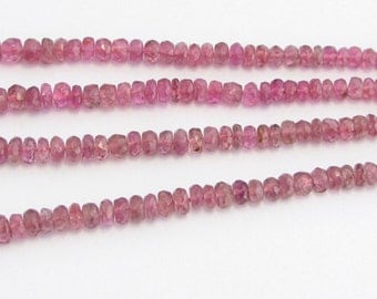 Beautiful Genuine Untreated Pink Tourmaline Faceted Rondelle Gemstone Beads Graduated 3.2mm - 5.2mm (7.5 inch strand of gems)