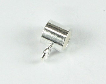 Bright Bali Sterling Silver Tube Slide Bail Bead with Closed Loop for Dangles Large Hole Bead (1 piece)