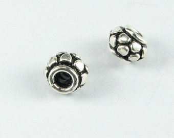 Scales Design Bali Sterling Silver Rondelle Spacer Beads with Large Holes 7mm (2 beads)