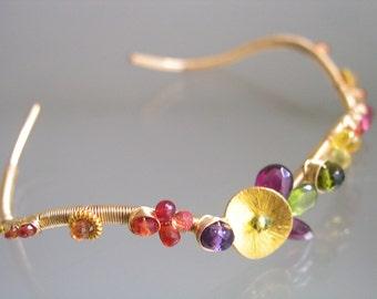 Gold Filled Wire Wrapped Gemstone Cuff, Stackable Cuff, Wavy Bracelet, Sapphire, Vesuvianite, Amethyst, Original Design, Signature