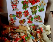 90 Vintage 1950's Christmas Gift Card Stickers & 8 String Tags