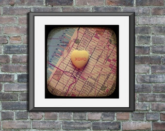 Map art print xoxo hell's kitchen manhattan new york city candy heart photo custom engagement wedding anniversary gift nursery wall decor